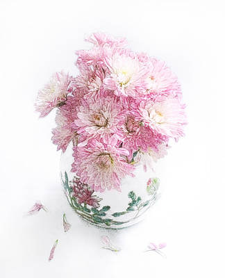 Photograph - Pretty Pink Mums Still Life by Louise Kumpf