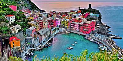 Photograph - Pretty Pink Pano Or Vernazza by Frozen in Time Fine Art Photography