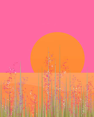 Digital Art - Pretty Pink Prairie Flowers by Val Arie