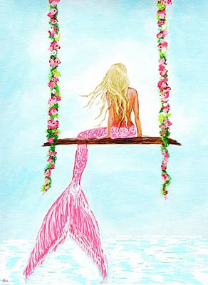 Painting - Pretty Pink Swing by Leslie Allen