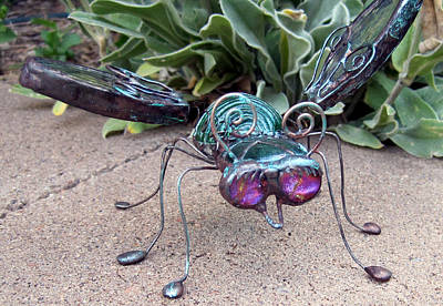 Glass Art - Pretty Pinkeyed Green by Maxine Grossman