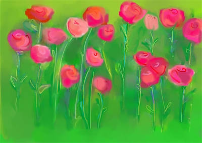 Painting - Pretty Pinks In The Field by Christine Quimby