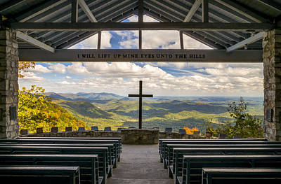 Blue Photograph - Pretty Place Chapel - Blue Ridge Mountains Sc by Dave Allen