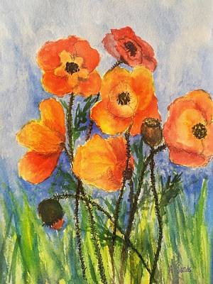 Painting - Pretty Poppies by Anne Sands