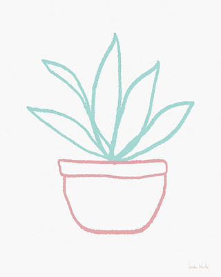 Mixed Media - Pretty Potted Plant Illustration- Art By Linda Woods by Linda Woods