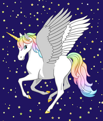 Pegasus Painting - Pretty Rainbow Unicorn Flying Horse by Crista Forest