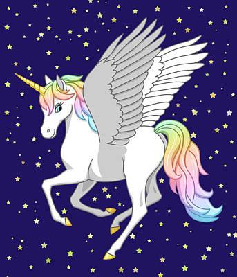 Pretty Rainbow Unicorn Flying Horse Original