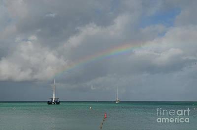 Photograph - Pretty Rainbow With Boats Anchored In Aruba by DejaVu Designs