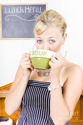 Pretty Retro Woman Drinking Hot Cup Of Soup Art Print by Jorgo Photography - Wall Art Gallery