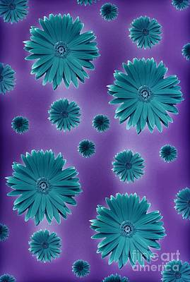 Digital Art - Pretty Teal Flowers by Rachel Hannah