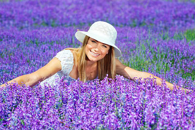 Pretty Woman On Lavender Field Art Print by Anna Om