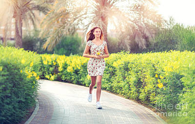 Photograph - Pretty Woman Running In The Park by Anna Om