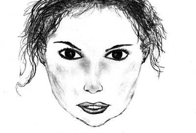 Drawing - Pretty Woman Sketch by Matt Harang
