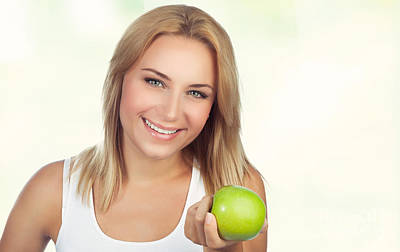 Photograph - Pretty Woman With Apple by Anna Om