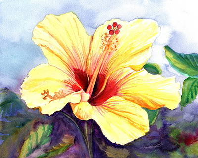 Painting - Pretty Yellow Hibiscus by Marionette Taboniar