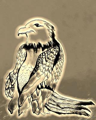 Mixed Media - Preying Golden Eagle by Ayasha Loya