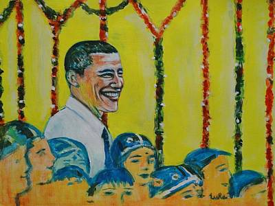 Diwali Painting - Prez Obama With Children by Usha Shantharam