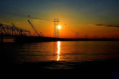 Clarks Hill Lake Pyrography - Price Legg Bridge Sunset by Joseph Johns