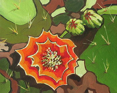 Prickly Pear Painting - Prickly Pear Bloom by Sandy Tracey