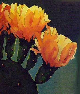 Painting - Prickly Pear Blooming by Jessica Anne Thomas