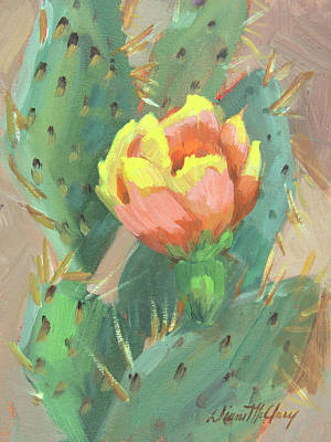 Art Print featuring the painting Prickly Pear Cactus Bloom by Diane McClary