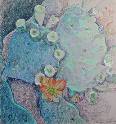 Fruit Colored Pencil Drawing Drawing - Prickly Pear Conga Line by Bonnie See