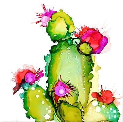 Alcohol Ink Wall Art - Painting - Prickly Pear Cooler by Marla Beyer