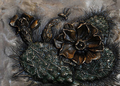 Sculpture - Prickly Pear Flowering by Dawn Senior-Trask