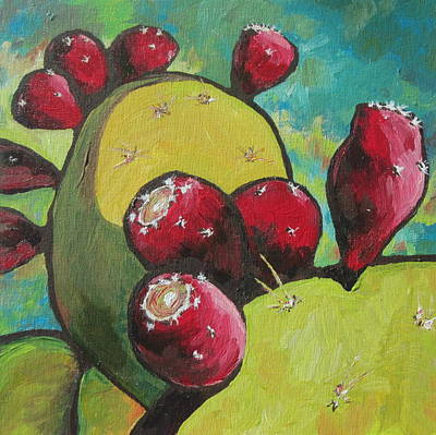 Shadows Painting - Prickly Pear Fruit by Sandy Tracey