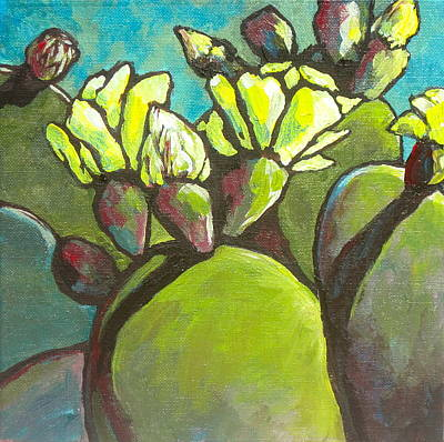 Prickly Pear Painting - Prickly Pear In Bloom by Sandy Tracey