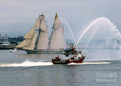 Photograph - Pride Of Baltimore II And Fire Boat by Janice Drew