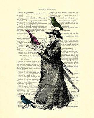 Priest And Birds Art Print by Madame Memento