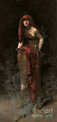 Ancient Painting - Priestess Of Delphi by John Collier