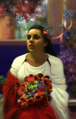 Portait Mixed Media - Priestess Of The Floral Temple by Stephen Lucas