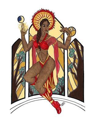 Priestess Of The Sun Print by Kat Crossland