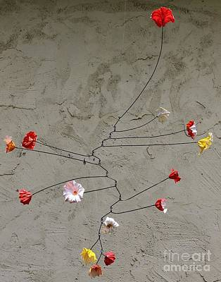 Wire Mobile Painting - Primary Blossoms by Mattie O