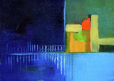 Color Block Painting - Primary Blue Abstract by Nancy Merkle