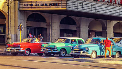 Photograph - Primary Color Classic Cars Havana Cuba by Joan Carroll