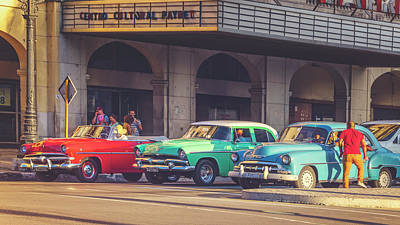 Photograph - Primary Color Classic Cars Havana Cuba Matte Finish by Joan Carroll