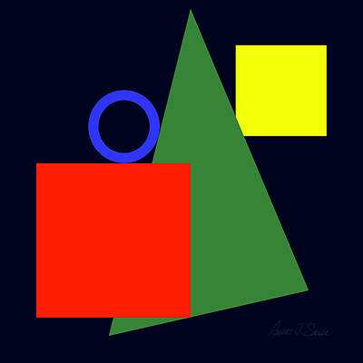 Digital Art - Primary Squares And Triangle With Blue Circle Two by Robert J Sadler