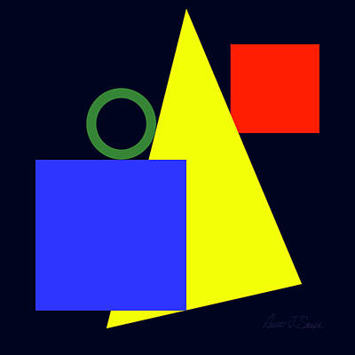 Digital Art - Primary Squares Blue And Triangle With Green Circle by Robert J Sadler