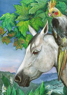Prime And Cockatiel Art Print by Linda L Martin