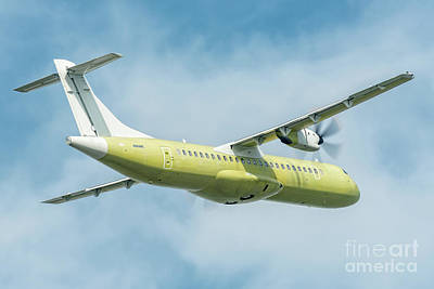 Airliner Photograph - Primer Atr 72 Departed In A Blue Sky by Roberto Chiartano