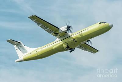 Airplane Photograph - Primer Atr 72 Take Off Turin Italy by Roberto Chiartano