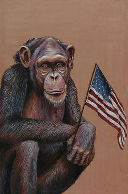 Painting - Primitive Patriotism by Jim Figora