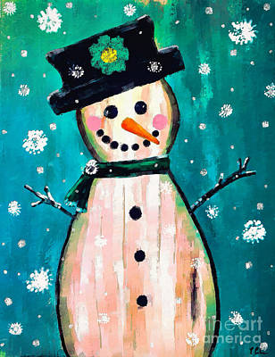 Painting - Primitive Snow Lady by Tina LeCour