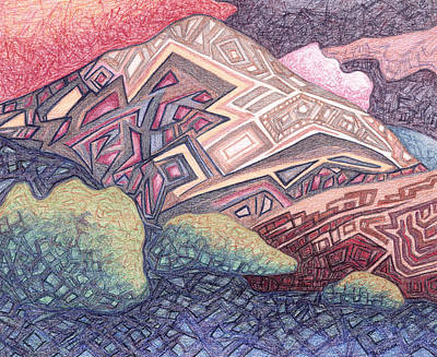 Abstract Landscape Drawings - Primordial Memory by Dale Beckman