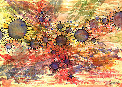 Mixed Media - Primordial Suns by Kristen Fox