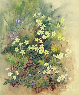 Primroses Painting - Primrose Bank by John Gubbins