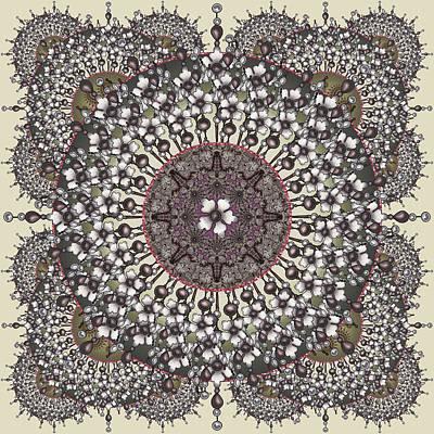 Digital Art - Primrose Pearl Ecru And Olive by Deborah Runham